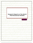 Research Report on The World Pharmaceutical Markets
