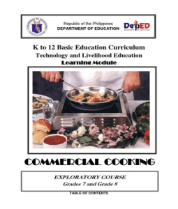 k12 commercial cooking learning module.