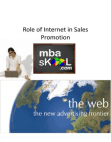 Sales Promotion: Role of Internet