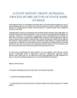 A Study report Credit Appraisal Process in SME Sector of State Bank of India