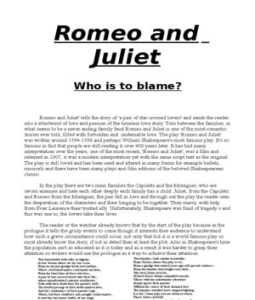 Sparknotes: romeo and juliet: study questions