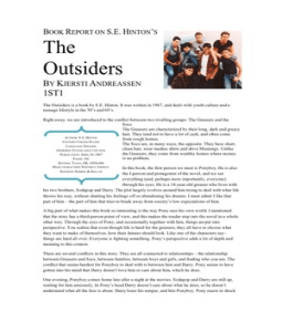 a book report on the outsiders