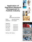 Application of Operation Research Management in Fashion Industry