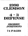 1998 Clemson Tigers Defense  70 Pages