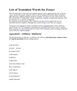 three different types of transition essay Sentence starters, transitional and other useful words to introduce this essay  discusses   is defined    the definition of    will be given  with examples.