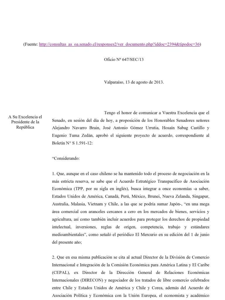 Senado chileno acordó unánimemente solicitar al gobierno un debate abierto sobre el TPP