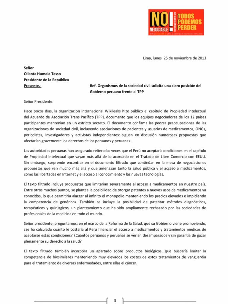 Carta a Humala pidiendo explicaciones tras filtración de Wikileaks
